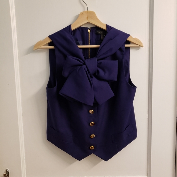 Marc by Marc Jacobs Purple Silk Vest with Bow Neck